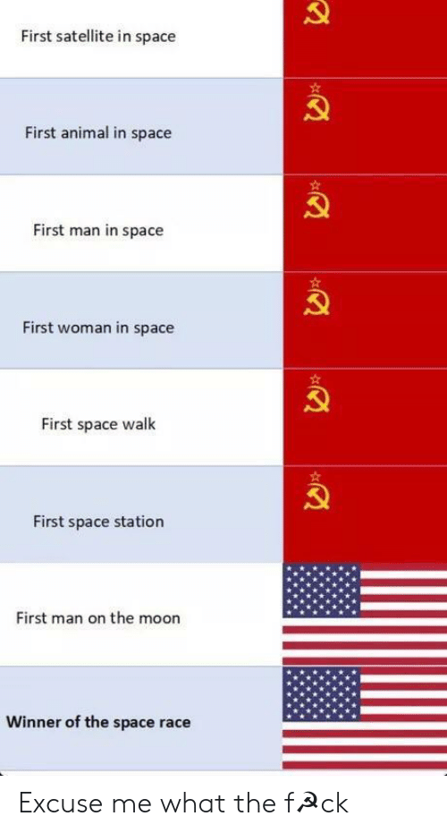 space station: First satellite in space  First animal in space  First man in space  First woman in space  First space walk  First space station  First man on the moon  Winner of the space race Excuse me what the f☭ck