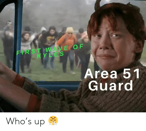 Dank Memes, Area 51, and Who: FIRST WAVE OF  KYLES  Area 51  Guard  sau Who's up 😤