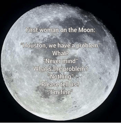 """Houston we have a problem: First woman on the Moon  Houston, we have a problem  What?  """"Never mind""""  What's the problem?  Please tell us?  Im fine"""