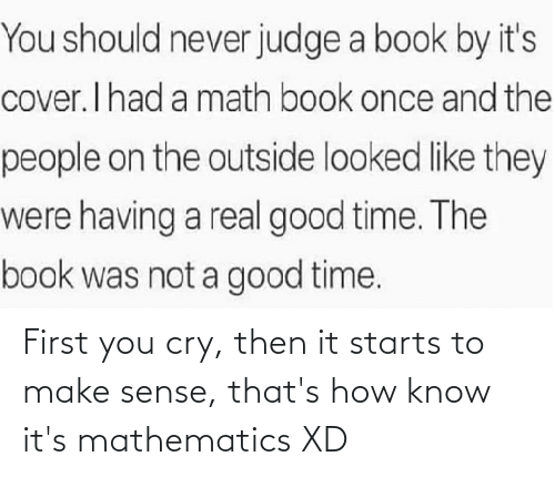 Mathematics: First you cry, then it starts to make sense, that's how know it's mathematics XD