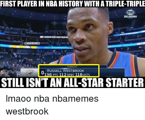Russel Westbrook: FIRSTPLAYERIN NBAHISTORYWITHATRIPLE-TRIPLE  Fox  OKLAHOMA  @NBAMEMES  TONIGHT  RUSSELL WESTBROOK  136 PTS 112 REBS 118 ASTS  STILL ISNTAN ALL-STAR STARTER lmaoo nba nbamemes westbrook