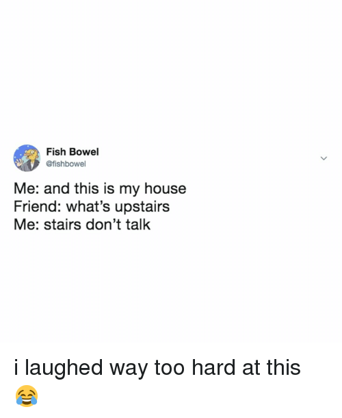 My House, Fish, and House: Fish Bowel  @fishbowel  Me: and this is my house  Friend: what's upstairs  Me: stairs don't talk i laughed way too hard at this 😂