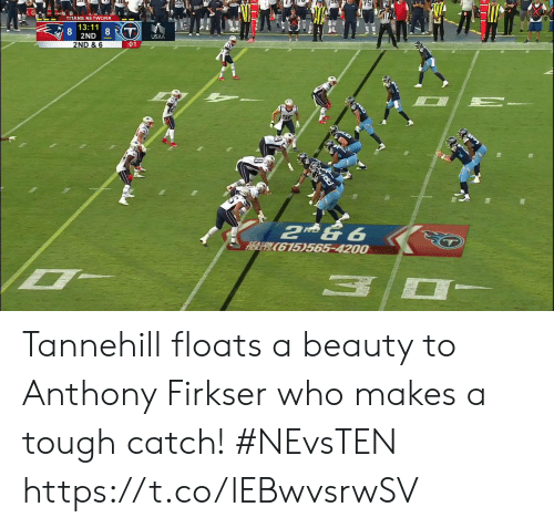 Memes, Tough, and 🤖: FITA  TITANS NETWORK  13:11  8  2ND  8T  USAA  2ND & 6  :01  2 & 6  RIER E615)565-4200 Tannehill floats a beauty to Anthony Firkser who makes a tough catch!  #NEvsTEN https://t.co/lEBwvsrwSV