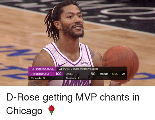Derrick Rose: fitbit  25 DERRICK ROSE 23 POINTS (Career High vs Bulls)  TIMBERWOLVES 100 BULLS  Timeouts: 3  80 4th Qtr  5-26  24  Timeouts: 2 D-Rose getting MVP chants in Chicago 🌹