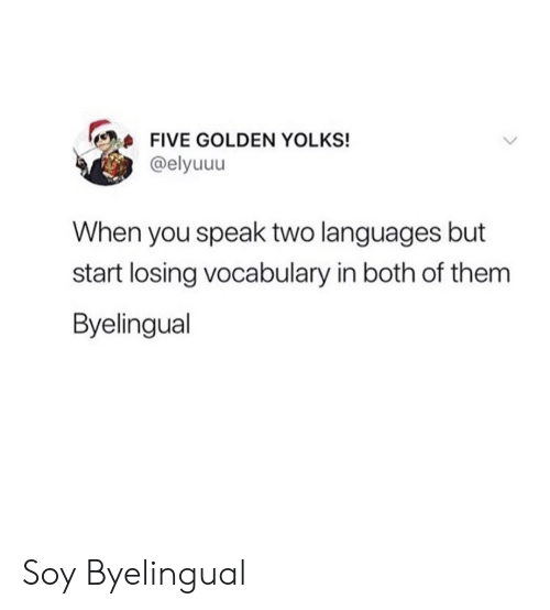 Soy: FIVE GOLDEN YOLKS!  @elyuuu  When you speak two languages but  start losing vocabulary in both of them  Byelingual Soy Byelingual