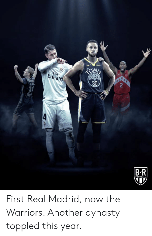 the warriors: FIY  Enirates  R  2  30  BR  FOOTBALL First Real Madrid, now the Warriors.   Another dynasty toppled this year.