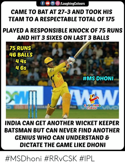 wicket: fLaughingColours  CAME TO BAT AT 27-3 AND TOOK HIS  TEAM TO A RESPECTABLE TOTAL OF 175  PLAYED A RESPONSIBLE KNOCK OF 75 RUNS  AND HIT 3 SIXES ON LAST 3 BALLS  75 RUNS  46 BALLS  4 6s  #MS: DHONI-  LAUGHING  INDIA CAN GET ANOTHER WICKET KEEPER  BATSMAN BUT CAN NEVER FIND ANOTHER  GENIUS WHO CAN UNDERSTAND &  DICTATE THE GAME LIKE DHON #MSDhoni #RRvCSK #IPL