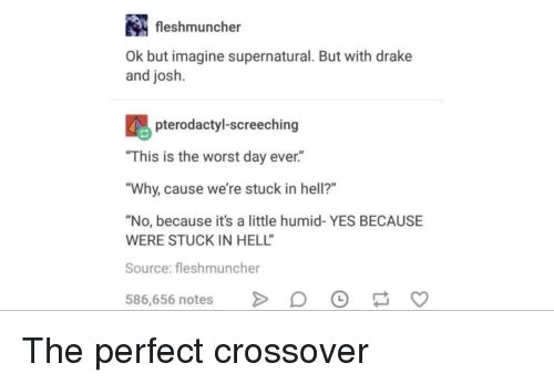 "This Is The Worst: fleshmuncher  Ok but imagine supernatural. But with drake  and josh.  pterodactyl-screeching  ""This is the worst day ever.""  Why, cause we're stuck in hell?""  ""No, because it's a little humid- YES BECAUSE  WERE STUCK IN HELL  Source: fleshmuncher  586,656 notes >DO S The perfect crossover"