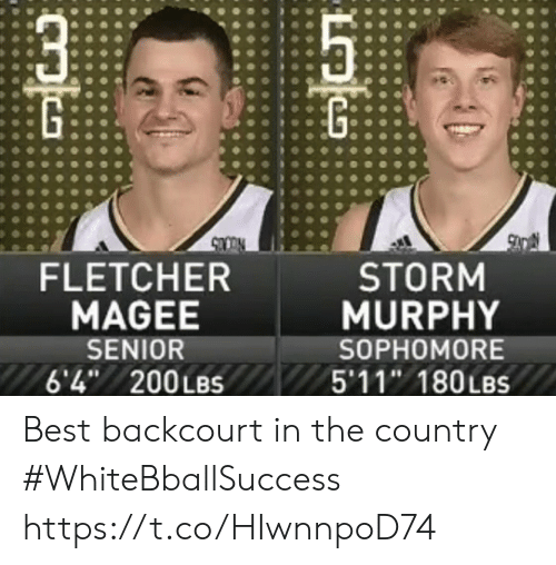 Basketball, White People, and Best: FLETCHER  MAGEE  SENIOR  6'4 200LBS  STORM  MURPHY  SOPHOMORE  5'11 180LBS Best backcourt in the country #WhiteBballSuccess https://t.co/HIwnnpoD74