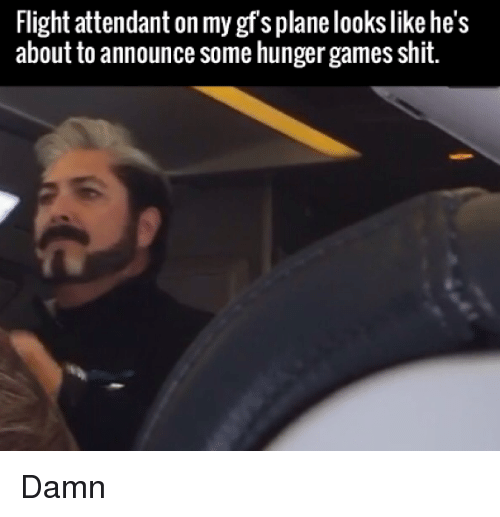 Shit Damn: Flight attendant on my gf s plane lookslike he's  about to announce some hunger games shit. Damn
