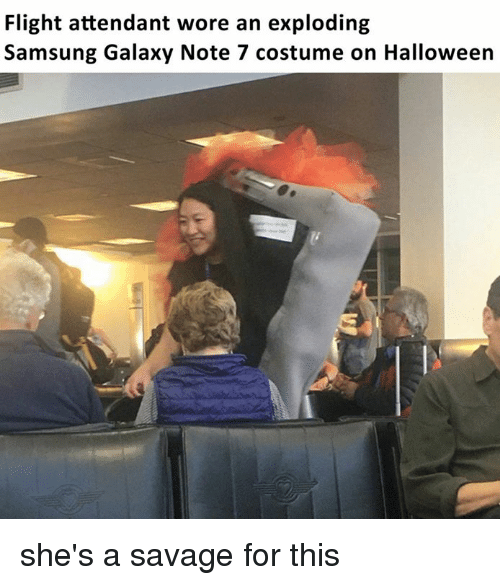 Galaxy Note 7: Flight attendant wore an exploding  Samsung Galaxy Note 7 costume on Halloween she's a savage for this