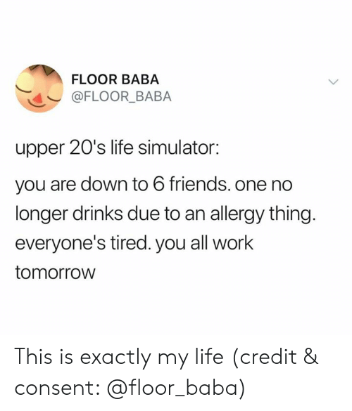 Simulator: FLOOR BABA  @FLOOR_BABA  upper 20's life simulator:  you are down to 6 friends. one no  longer drinks due to an allergy thing.  everyone's tired. you all work  tomorrow This is exactly my life (credit & consent: @floor_baba)