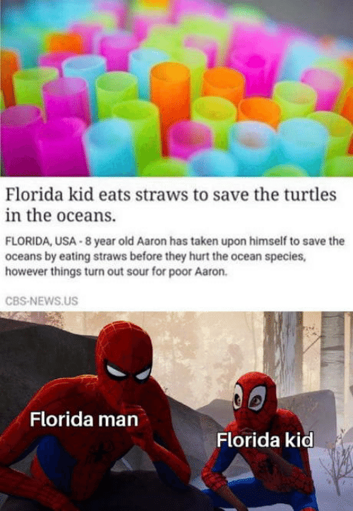 cbs news: Florida kid eats straws to save the turtles  in the oceans.  FLORIDA, USA 8 year old Aaron has taken upon himself to save the  oceans by eating straws before they hurt the ocean species,  however things turn out sour for poor Aaron.  CBS-NEWS.US  Florida man  Florida kid