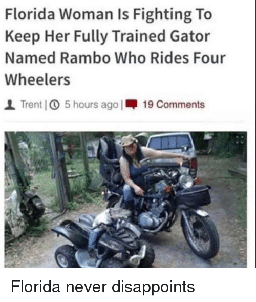 Rambo: Florida Woman Is Fighting To  Keep Her Fully Trained Gator  Named Rambo Who Rides Four  Wheelers  1 Trent IO 5 hours ago |呷19 Comments Florida never disappoints