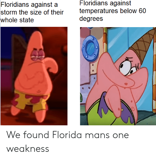 Florida, Storm, and One: Floridians against  temperatures below 60  degrees  Floridians against a  storm the size of their  whole state We found Florida mans one weakness