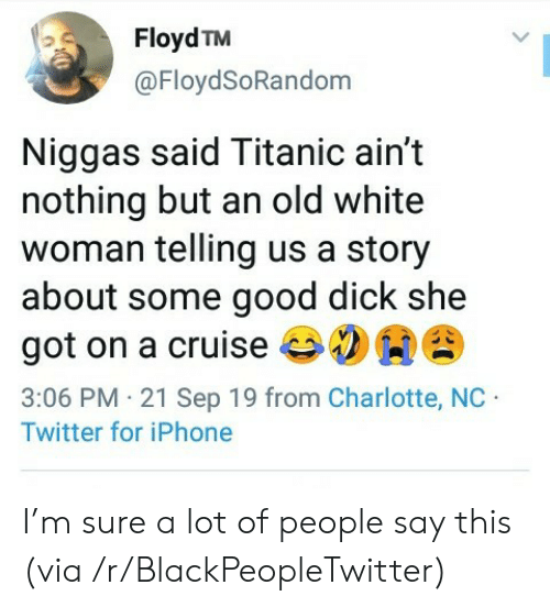 Charlotte: Floyd TM  @FloydSoRandom  Niggas said Titanic ain't  nothing but an old white  woman telling us a story  about some good dick she  got on a cruise  3:06 PM 21 Sep 19 from Charlotte, NC  Twitter for iPhone I'm sure a lot of people say this (via /r/BlackPeopleTwitter)
