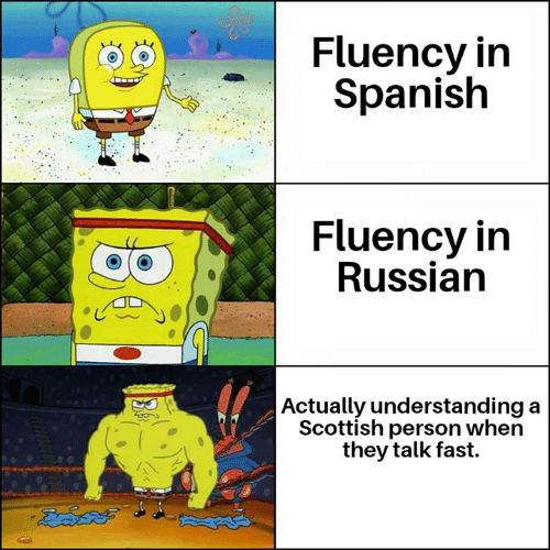 Memes, Spanish, and Russian: Fluency in  Spanish  Fluency in  Russian    Actually understanding  Scottish person when  they talk fast.