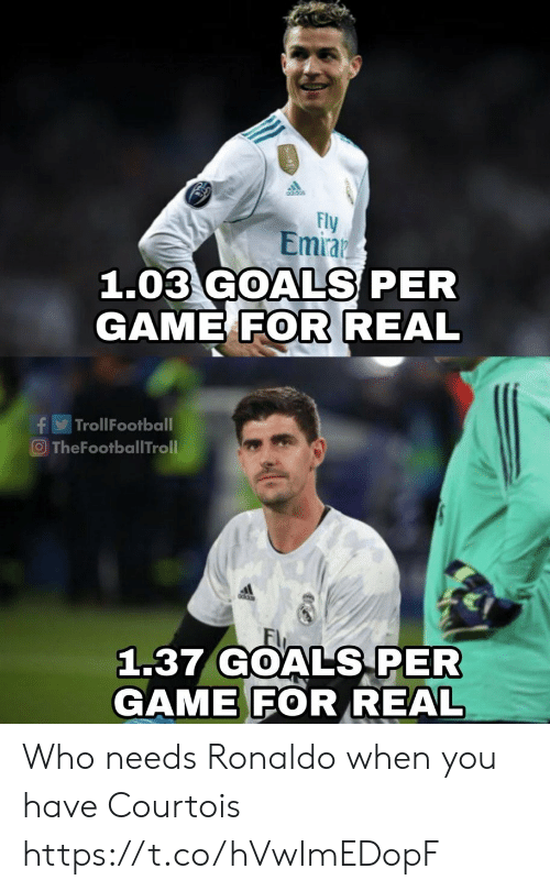 courtois: Fly  Emraz  1.03 GOALS PER  GAME FOR REAL  TrollFootball  f  O TheFootballTroll  1.37 GOALS PER  GAME FOR REAL Who needs Ronaldo when you have Courtois https://t.co/hVwImEDopF