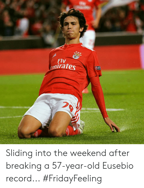 Memes, Record, and The Weekend: Fly  mirates  RES Sliding into the weekend after breaking a 57-year-old Eusebio record...  #FridayFeeling