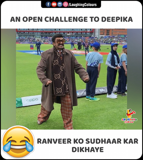 Indianpeoplefacebook, Oppo, and Challenge: fo /LaughingColours  AN OPEN CHALLENGE TO DEEPIKA  ca  AT MO  NTE  oppo  LAUGHING  Celeurs  RANVEER KO SUDHAAR KAR  DIKHAYE