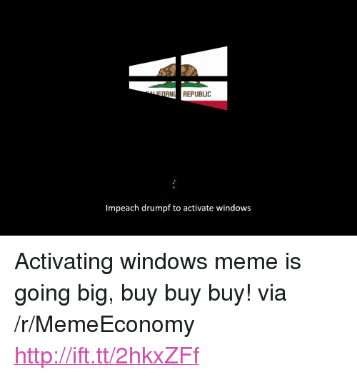 "Meme, Windows, and Http: ^^..FO  RNI REPUBLIC  Impeach drumpf to activate windows <p>Activating windows meme is going big, buy buy buy! via /r/MemeEconomy <a href=""http://ift.tt/2hkxZFf"">http://ift.tt/2hkxZFf</a></p>"