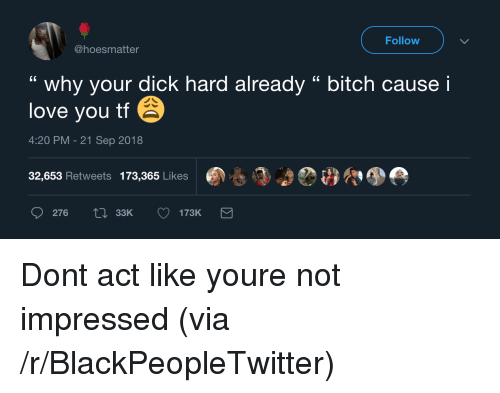"Bitch, Blackpeopletwitter, and Love: Follow  @hoesmatter  "" why your dick hard already "" bitch cause i  love you tf  4:20 PM-21 Sep 2018  32,653 Retweets 173,365 Likes  276  33K Dont act like youre not impressed (via /r/BlackPeopleTwitter)"