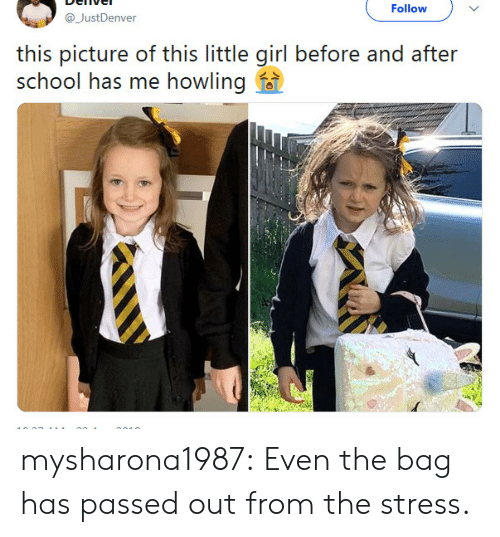 before and after: Follow  @JustDenver  this picture of this little girl before and after  school has me howling f mysharona1987:  Even the bag has passed out from the stress.