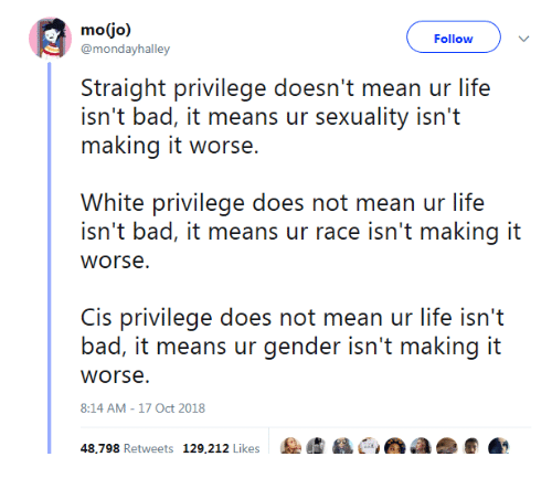 Bad, Life, and Run: Follow  @morhdayhalley  Siraighi privilege do' ean ur lifes  isn't bad, it means ur sexuality isn't  making it worse.  White privilege does not mean ur life  isn't bad, it means ur race isn't making it  is privilege does not mean ur life isn'i  bad, it means ur gender isn't making it  worse  8:14 AM-17 Oct 2018  RUN  Retweets  1%,202 Likes  :