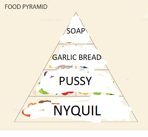 NyQuil: FOOD PYRAMID  SOAP  GARLIC BREAD  PUSSY  NYQUIL