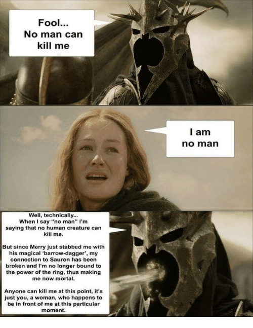 """Of The Ring: Fool.  No man can  kill me  l am  no marn  Well, technically...  When I say """"no man"""" I'm  saying that no human creature can  kill me.  But since Merry just stabbed me with  his magical 'barrow-dagger', my  connection to Sauron has been  broken and I'm no longer bound to  the power of the ring, thus making  me now mortal.  Anyone can kill me at this point, it's  just you, a woman, who happens to  be in front of me at this particular  moment."""