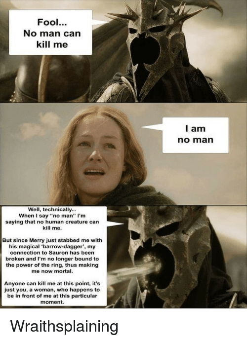 """Of The Ring: Fool.  No man can  kill me  l am  no marn  Well, technically...  When I say """"no man"""" I'm  saying that no human creature can  kill me.  But since Merry just stabbed me with  his magical 'barrow-dagger', my  connection to Sauron has been  broken and I'm no longer bound to  the power of the ring, thus making  me now mortal.  Anyone can kill me at this point, it's  just you, a woman, who happens to  be in front of me at this particular  moment. Wraithsplaining"""