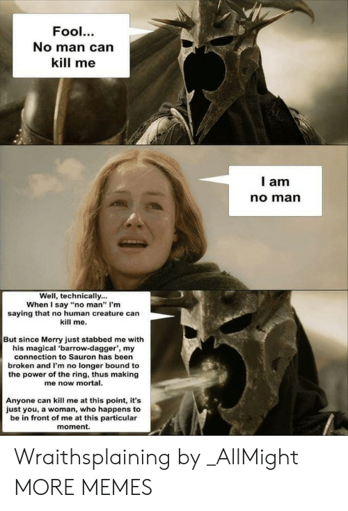 """Of The Ring: Fool.  No man can  kill me  l am  no marn  Well, technically...  When I say """"no man"""" I'm  saying that no human creature can  kill me.  But since Merry just stabbed me with  his magical 'barrow-dagger', my  connection to Sauron has been  broken and I'm no longer bound to  the power of the ring, thus making  me now mortal.  Anyone can kill me at this point, it's  just you, a woman, who happens to  be in front of me at this particular  moment. Wraithsplaining by _AllMight MORE MEMES"""