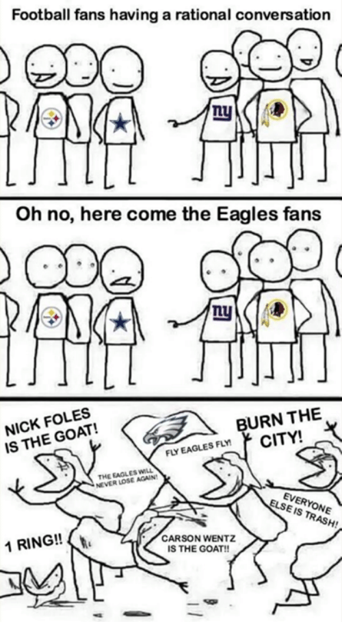 Eagles Fans: Football fans having a rational conversation  Oh no, here come the Eagles fans  LU  NICK FOLES  IS THE GOAT!  BURN THE  EAGLES FLMCITY!  THE EAGLES WILL  NEVER LOSE AGAIN  EVERYONE  ELSE IS TRASH!  1 RING!!  CARSON WENTZ  IS THE GOAT!
