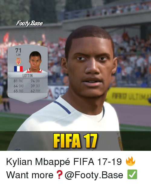 Fifa, Memes, and 🤖: Fooy Base  71  LW  LOTTIN  81 PAC 74 DR  64 SHO 39 DEF  65 PAS 62 PHY  FIFA 17 Kylian Mbappé FIFA 17-19 🔥 Want more❓@Footy.Base ✅