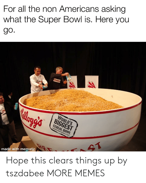 Dank, Memes, and Super Bowl: For all the non Americans asking  what the Super Bowl is. Here you  WORLD'S  CEREAL. BOWI.  made with mematic Hope this clears things up by tszdabee MORE MEMES