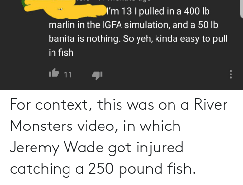 river: For context, this was on a River Monsters video, in which Jeremy Wade got injured catching a 250 pound fish.