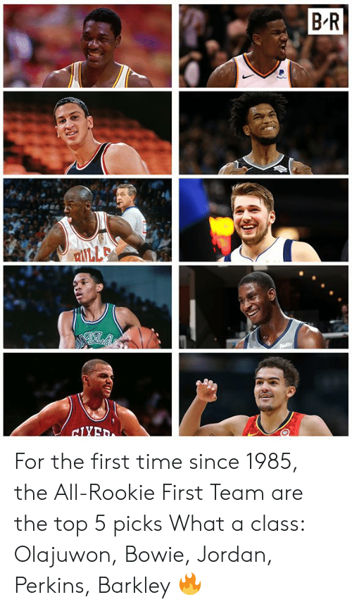 Jordan, Time, and The All: For the first time since 1985, the All-Rookie First Team are the top 5 picks  What a class: Olajuwon, Bowie, Jordan, Perkins, Barkley 🔥