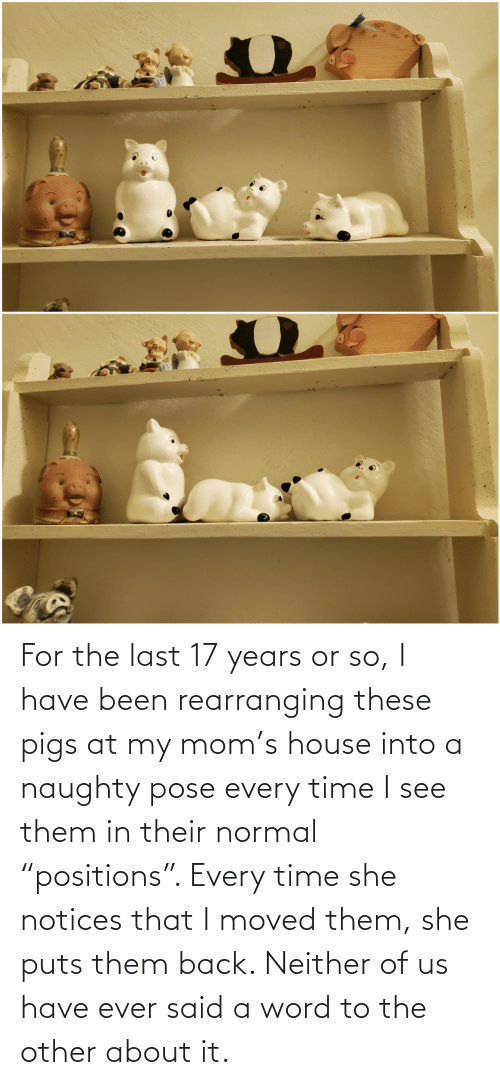 "pose: For the last 17 years or so, I have been rearranging these pigs at my mom's house into a naughty pose every time I see them in their normal ""positions"". Every time she notices that I moved them, she puts them back. Neither of us have ever said a word to the other about it."