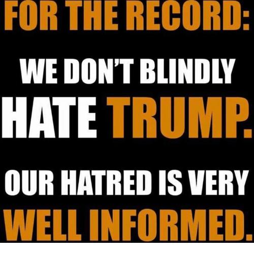 Hate Trump: FOR THE RECORD  WE DON'T BLINDLY  HATE TRUMP  OUR HATRED IS VERY  WELL INFORMED