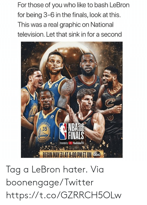 Television: For those of you who like to bash LeBron  for being 3-6 in the finals, look at this.  This was a real graphic on National  television. Let that sink in for a second  COLD  WARN  BOUREN  35  STATE  NBA  FINALS  ARRIOEP  YouTubeTV  Presented by  BEGIN MAY 31 AT 9.00 PMET ON abc  2018  TATE Tag a LeBron hater.  Via boonengage/Twitter https://t.co/GZRRCH5OLw