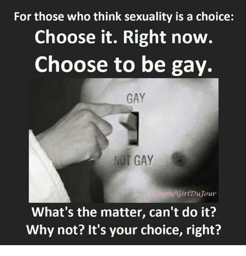 Dank, 🤖, and Gay: For those who think sexuality is a choice:  Choose it. Right now.  Choose to be gay.  GAY  NOT GAY  Gir(DuJour  What's the matter, can't do it?  Why not? It's your choice, right?