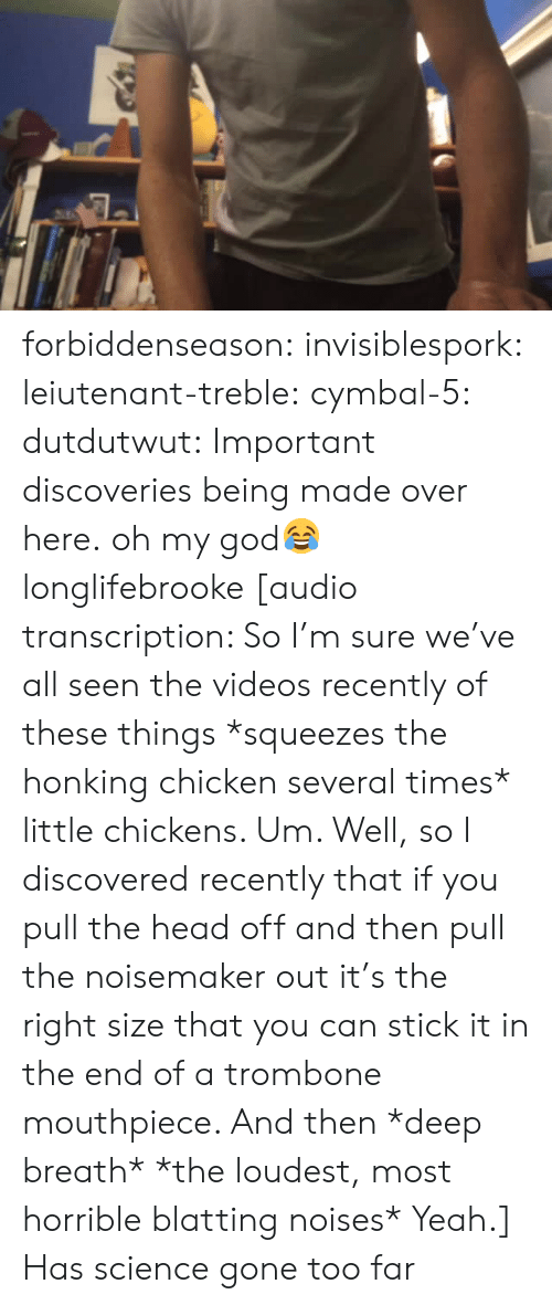 Stick It In: forbiddenseason:  invisiblespork:  leiutenant-treble:  cymbal-5:  dutdutwut:  Important discoveries being made over here.  oh my god😂  longlifebrooke  [audio transcription: So I'm sure we've all seen the videos recently of these things *squeezes the honking chicken several times* little chickens. Um. Well, so I discovered recently that if you pull the head off and then pull the noisemaker out it's the right size that you can stick it in the end of a trombone mouthpiece. And then *deep breath* *the loudest, most horrible blatting noises* Yeah.]   Has science gone too far
