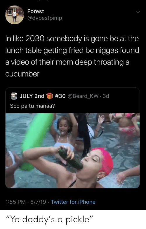 "Beard, Iphone, and Twitter: Forest  @dvpestpimp  In like 2030 somebody is gone be at the  lunch table getting fried bc niggas found  a video of their mom deep throating a  cucumber  JULY 2nd  # 30  @Beard - KW  3d  Sco pa tu manaa?  1:55 PM 8/7/19 Twitter for iPhone ""Yo daddy's a pickle"""