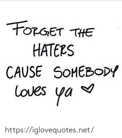 loves: FORGET THE  HATERS  CAUSE SOMEBODY  loves  ya https://iglovequotes.net/