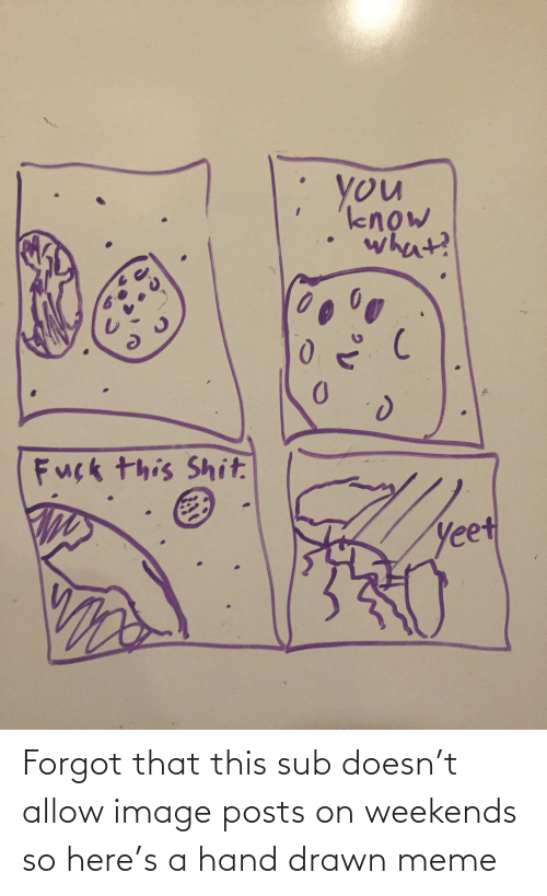 Weekends: Forgot that this sub doesn't allow image posts on weekends so here's a hand drawn meme