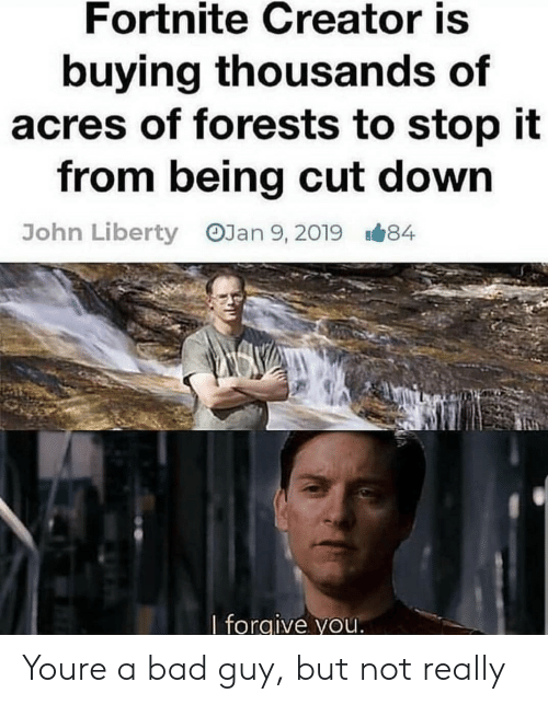 I Forgive You: Fortnite Creator is  buying thousands of  acres of forests to stop it  from being cut down  OJan 9, 2019  John Liberty  8#84  I forgive you Youre a bad guy, but not really