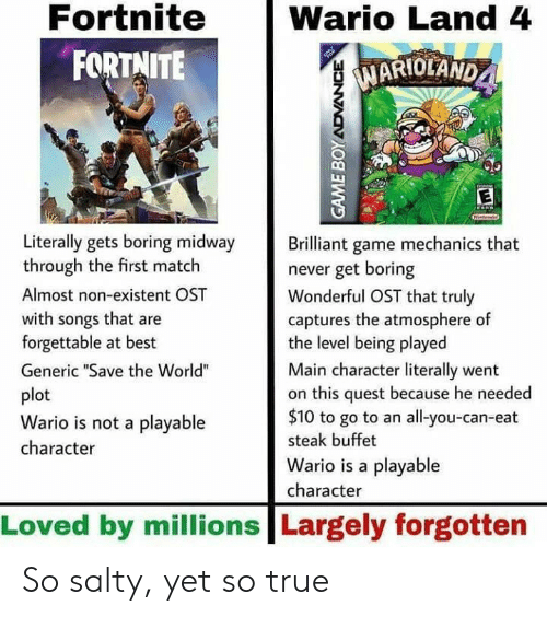 "Non Existent: Fortnite  FORTNITE  Wario Land 4  MARIOLAND  1  Literally gets boring midway rilliant game mechanics that  through the first match  Almost non-existent OST  with songs that are  forgettable at best  Generic ""Save the World""  plot  Wario is not a playable  character  never get boring  Wonderful OST that truly  captures the atmosphere of  the level being played  Main character literally went  on this quest because he needed  $10 to go to an all-you-can-eat  steak buffet  Wario is a playable  character  Loved by millions Largely forgotten So salty, yet so true"