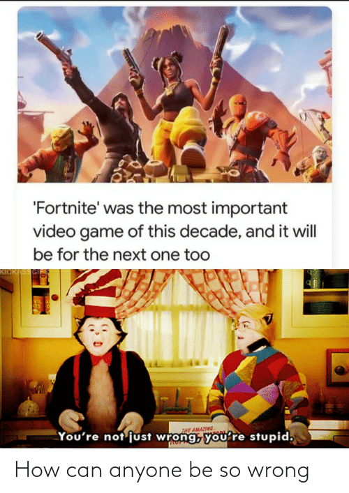 Important: 'Fortnite' was the most important  video game of this decade, and it will  be for the next one too  KICKASSGI  VIL  STS  INE AMAZING  You're not'just wrong, you're stupid, How can anyone be so wrong