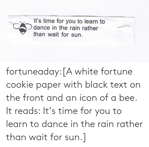 rather: fortuneaday:[A white fortune cookie paper with black text on the front and an icon of a bee. It reads: It's time for you to learn to dance in the rain rather than wait for sun.]