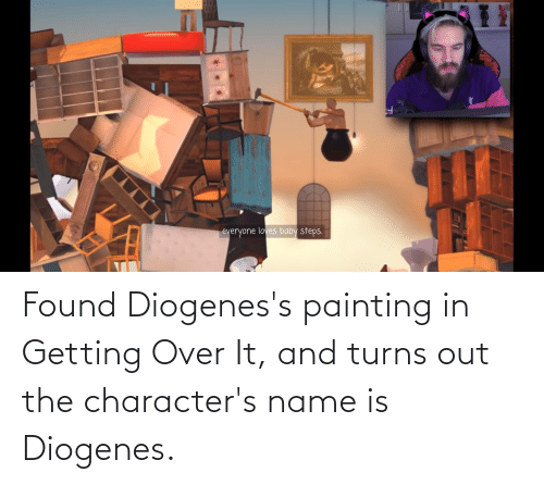 painting: Found Diogenes's painting in Getting Over It, and turns out the character's name is Diogenes.